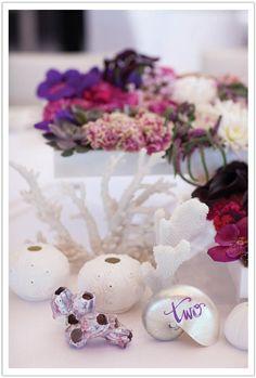 Coral reef flowers Asian zen la Jolla beach wedding by Alchemy Fine Events