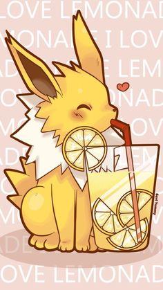 Pikachu & Coffe-chan ---------------------------------------- Hello my friends! WHO LOVES COFFEE? I bring to you a cute Pikachu phone wallpaper. Feel free to use it. The resolution is ( This is Jolteon, so. Pokemon Eeveelutions, Eevee Evolutions, O Pokemon, Pokemon Fan Art, Kawaii Drawings, Cute Drawings, Pokemon Mignon, Arte Do Kawaii, Cute Pokemon Wallpaper