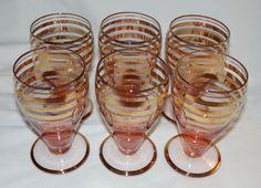 Vintage Set of 6 Pink Glass Cordial Wine Glasses Roumania /  Romania Gold Stripe