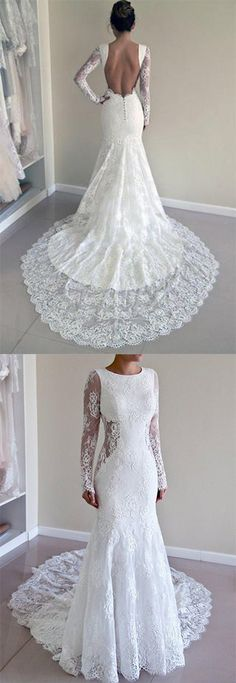 Wedding Gown Long Sleeves Open Back Lace Appliques Scoop Mermaid Long Beach Wedding Dresses uk Scoop Wedding Dress, Wedding Dresses Uk, Open Back Wedding Dress, Lace Mermaid Wedding Dress, Perfect Wedding Dress, Mermaid Dresses, Bridal Dresses, Lace Dress, Lace Wedding
