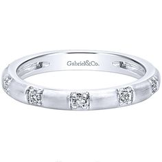 """Gabriel 14K White Gold """"Midori"""" Contemporary Stackable Ring Featuring 0.16 Carat Round Cut Prong Set Diamonds. Style LR4862W44JJ"""