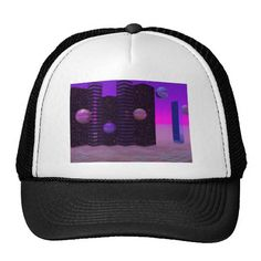 Monolith Quest, Abstract City Violet Mesh Hats