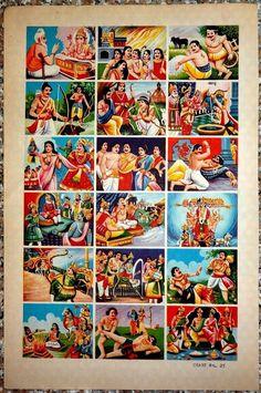 India vintage Hindu Gods Mahabharat poster with 15 panels x Shiva Hindu, Krishna Art, Lord Krishna, Rajyoga Meditation, Lord Shiva Painting, Lord Vishnu Wallpapers, Mermaids And Mermen, Indian Gods, Gods And Goddesses