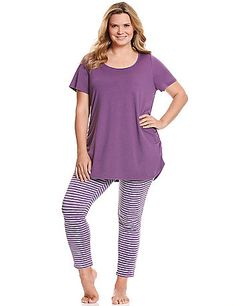 Striped legging PJ set by Cacique  e089deb63