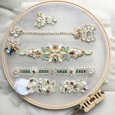 More progress on this beautiful custom sash. Tambour Beading, Tambour Embroidery, Embroidery Jewelry, Hand Accessories, Wedding Hair Accessories, Beaded Brooch, Beaded Lace, Wedding Belts, Wedding Jewelry