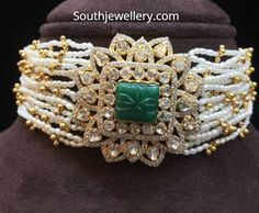 Latest Chokers by Amarsons Jewellers Jewelry Design Earrings, Gold Jewellery Design, Necklace Designs, Real Gold Jewelry, Indian Jewelry, Diamond Jewelry, Stylish Jewelry, Fashion Jewelry, Bridal Jewelry