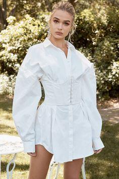 clothing  tops  'yulia' white cotton underbust corset