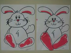 Footprint Easter bunny project