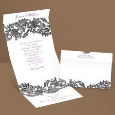 httpwwwinvitationsbydawncomwedding invitationspurple wedding invitations2657 dw32283nfc lacy corners seal and send invitationpro and t - Send And Seal Wedding Invitations