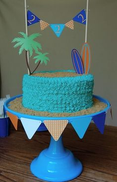 beach/surfing party cake Looks so delicious Luau Birthday, Summer Birthday, 1st Birthday Parties, Beach Cake Birthday, Bolos Pool Party, Luau Party, Kids Beach Party, Pool Party Cakes, Luau Theme
