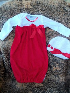 Baby Girl 2 Piece Layette Gown Set Red Crushed by mariahcreations Cute Christmas Outfits, Christmas Baby, Christmas Decor, Toddler Fashion, Kids Fashion, White Beanies, For Elise, Baby Layette, Baby Gown
