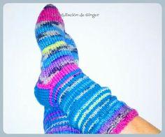 Calcetines de lana a dos agujas.