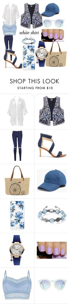 """""""# whit shirt#"""" by hannazakaria ❤ liked on Polyvore featuring Beauty & The Beach, 7 For All Mankind, Sole Society, Straw Studios, Madewell, Sonix, Shamballa Jewels, Vivienne Westwood, Lipsy and WardrobeStaples"""