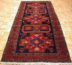 4 x 10 Persian MESHKIN Tribal Hand Knotted Wool NAVY RUST Runner Oriental Rug #PersianMeshkinTraditionalGeometricTribal