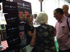 Michelle chatting about the finer points of our gluten, wheat and dairy free Harrogate 97% Pork Sausages!