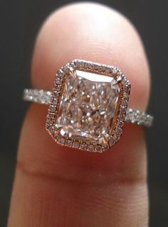 radiant halo rose gold engagement rings