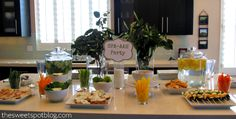 Spa Party Theme: Food Buffet  http://thesweetspotblog.com/spa-party-a-wrap-event/