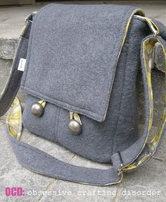 "Messenger Bag tutorial - large bag 15"" x 10"" x 3"" and smaller bag 9"" x 10"" x 3"""