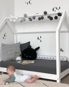 MILO White Pull-out Cabin with Tray - With or without gates - Cabin . Baby Boy Room Decor, Baby Bedroom, Baby Boy Rooms, Bedroom Decor, House Beds For Kids, Nursery Neutral, Kids And Parenting, Interior Design Living Room, Home Goods