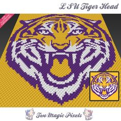 LSU Tiger Head  is a graph pattern that can be used to crochet a blanket using C2C (Corner to Corner), TSS (Tunisian Simple Stitch) and other techniques. Alternatively, you can use this graph for knitting, cross stitching and other crafts.  This graph design is 100 squares wide by 100 squares high.  It requires 3 colors.  Pattern PDF includes: - color illustration for reference - color squares pattern  Images only. There are NO written counts or step-by-step instructions. This listing is for…