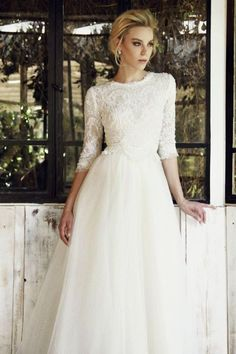 Bailey - Chana Marelus lace and chiffon A-line gown, modest sleeve - Bridal Gowns Modest Wedding Gowns, Wedding Dress Sleeves, Dream Wedding Dresses, Bridal Dresses, Flower Girl Dresses, Dream Dress, Wedding Styles, Beautiful Dresses, Wedding Inspiration