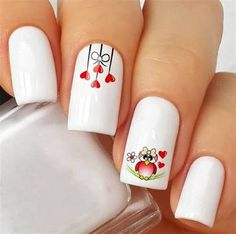 40 Happy Valentines Day Nails For Your Romantic Day - Styles Art-- 40 Happy Vale.-- 40 Happy Valentines Day Nails For Your Romantic Day - Styles Art-- 40 Happy Valentines Day Nails For Your Romantic Day - Styles Art Red Nail Art, Pretty Nail Art, Red Manicure, Pink Nails, Valentine's Day Nail Designs, Nails Design, Valentine Nail Art, Heart Nails, Holiday Nails