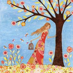 Freedom Mixed Media Collage Painting of a girl with a Birdcage by Sascalia by sascalia, via Flickr