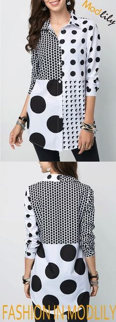 Polka Dot Button Front Turndown Collar Shirt On Sale. Fashion blouse at Modlily. African Wear, African Fashion, Blouse Styles, Blouse Designs, Hijab Fashion, Fashion Dresses, Cool Outfits, Casual Outfits, Polka Dot Shirt