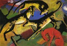 "artist-marc: "" Playing Dogs by Franz Marc Size: cm"" Franz Marc, Wassily Kandinsky, Cavalier Bleu, Blue Rider, Greyhound Art, Expressionist Artists, Dog Portraits, Dog Art, Impressionism"
