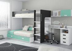 decoración de habitacion cama de matrimonio y escritorio - Buscar con Google