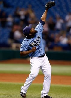 Pitcher Fernando Rodney #56 of the Tampa Bay Rays celebrates his save over the Toronto Blue Jays at Tropicana Field on September 23, 2012 in St. Petersburg, Florida.