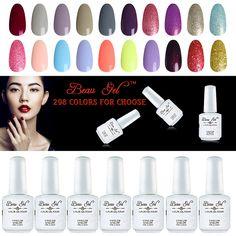 2017 New Beau Gel 298 Color Nail UV Gel Polish Organic UV LED Nail Gel Varnish Nail Art Salon 15ml Nail Gel Polish Soak Off