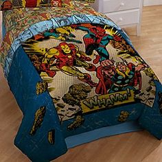 Whamm! Marvel Comics Comforter | Marvel |Whamm! Marvel Comics Comforter - Marvel has the best superheroes including Iron Man, Spider-Man and Thor and your little superhero will love having an action-adventure bedroom with our Whamm! Marvel Comics Comforter.