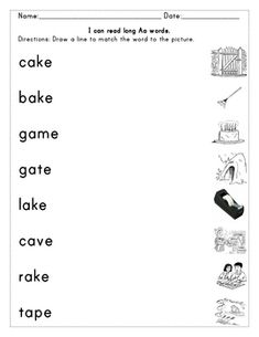 Short Aa, Ee, Ii, Oo, and Uu words. Students will read the word and draw a line to match the word to the picture. Helps students practice blending. Long Aa, Oo, and Ii words. Sh words and Ch words. 12 sheets total.