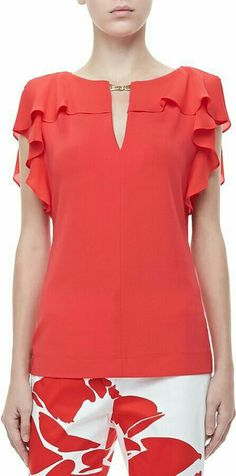 Shop for Escada Ruffle-Sleeve Silk Top, Poppy at ShopStyle. Blouse Patterns, Clothing Patterns, Blouse Designs, Sewing Patterns, Cool Outfits, Casual Outfits, Fashion Outfits, Dress Clothes For Women, Mode Style