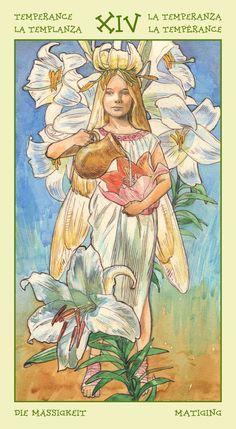 XIV. Temperance - Spirit of Flowers Tarot by Antonella Castelli, Laura Tuan