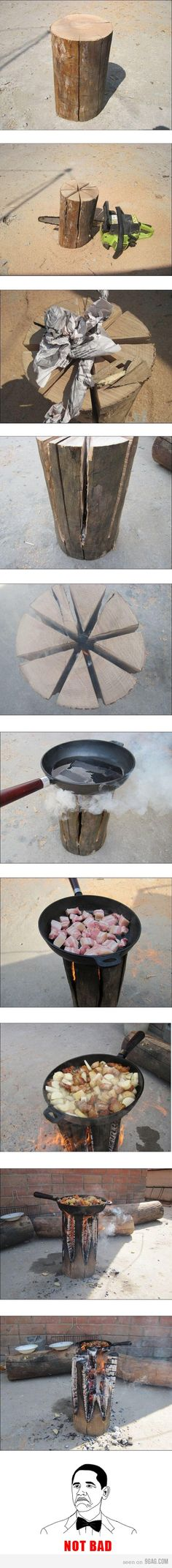 """Not for back packers or anything, but this looks like a fun camping idea or """"there-isn't-enough-room-on-the-bar-b-q"""" fix. Just takes a little prep and a chain saw:-) (Proubly not, but it is a creative idea! Camping Survival, Outdoor Survival, Emergency Preparedness, Survival Gear, Survival Skills, Survival Hacks, Survival Stuff, Camping Stove, Go Camping"""