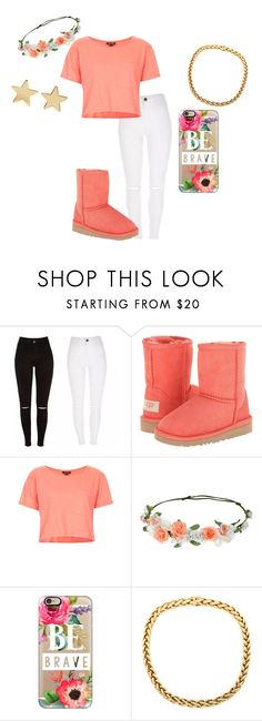 """Team be brave"" by rayonna-ray ❤ liked on Polyvore featuring UGG Australia, Topshop, Accessorize, Casetify and Jennifer Meyer Jewelry"