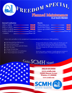 Check out this deal from SCMH! Forklift Planned Maintenance Freedom Special.