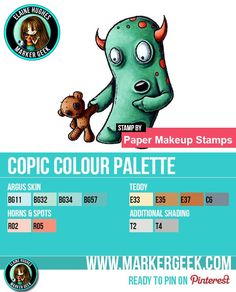 I'm joining in with The Daily Marker 30 Day Colouring Challenge. Today's post features a Paper Makeup Stamps monster image along with Copic Colour Palette.