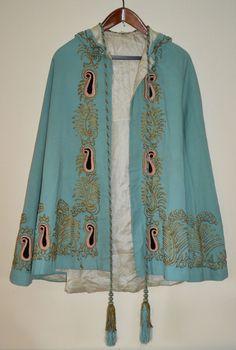 Victorian Lady's Hooded Silk Evening Cloak, Gold Bullion Braid, Hand Sewn, Rare. #Handmade