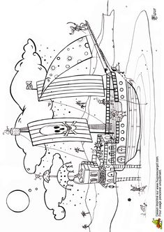 Coloriage d'un grand vaisseau de pirates sur la plage Printable Coloring Pages, Transportation, Book, Black And White, Beautiful Drawings, Coloring Pages, Books, Book Illustrations, Libros