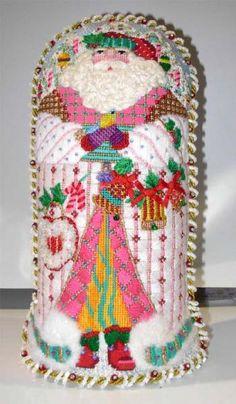 Melissa Shirley Designs | Hand Painted Needlepoint | Peppermint Stick Santa