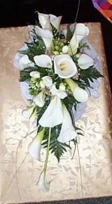 Calla Lily and freesia shower bouquet All White Wedding, White Wedding Flowers, Picasso Flowers, White Bouquets, Same Day Flower Delivery, Send Flowers, Funeral Flowers, Calla Lily, Shower