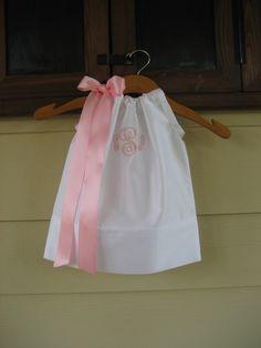 monogram white, little dresses, baptism, pillowcas dress, pillowcase dresses
