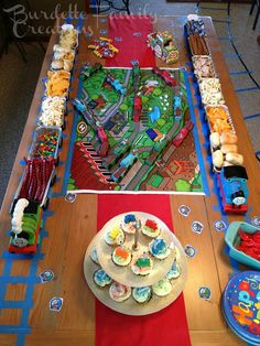 Thomas the Train Birthday Party: I LOVE the loaf pan train cars with food idea!