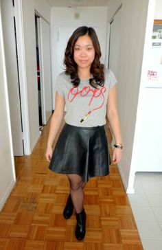 #OOTD features 'Oops' shirt from H&M and a cute faux leather circle skirt! #fashion