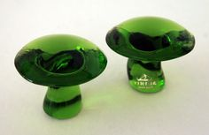 Green Glass Fungus Mushroom Set by Viking
