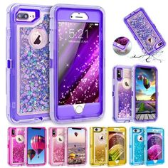 Defender Case Glitter Sparkle Dual Layer Quicksand Liquid Cover Clear Shockproof Bumper Anti-Drop PC Frame TPU Back for Apple iPhone P - Iphone Plus Glitter Case - Iphone Plus Glitter Case ideas - Cheap Iphone 7 Cases, Liquid Iphone 6 Cases, Sparkly Phone Cases, Rose Gold Iphone Case, Glitter Iphone 6 Case, Iphone Phone Cases, Iphone 4, Case Glitter, Iphone 8 Plus