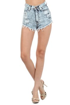 Acid Denim High Waist Shorts With American Flag On The Back Pocket (FREE SHIPPING)